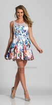 Dave and Johnny Multi Colored V-Back Pleated Fit and Flare Party Dress