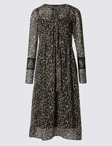 Marks and Spencer Animal Print Lined Long Sleeve Shift Dress