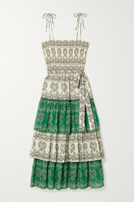 Tory Burch Shirred Tiered Paisley-print Cotton-voile Midi Dress - Green