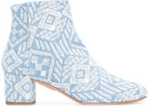 Aquazzura Brooklyn embroidered ankle boots - women - Cotton/Calf Leather/Leather - 37