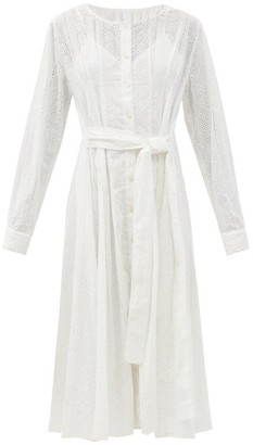 Merlette New York Clarendon Embroidered-eyelet Belted Cotton Dress - White
