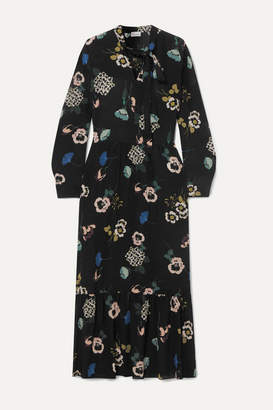 RED Valentino Tie-neck Floral-print Silk Midi Dress - Black