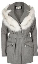 River Island Womens Grey faux fur collar puffer back jacket