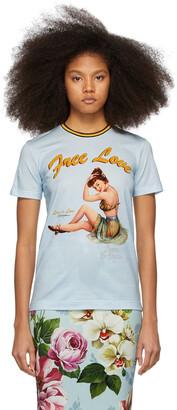 Dolce & Gabbana Blue Pin-Up 'Free Love' T-Shirt