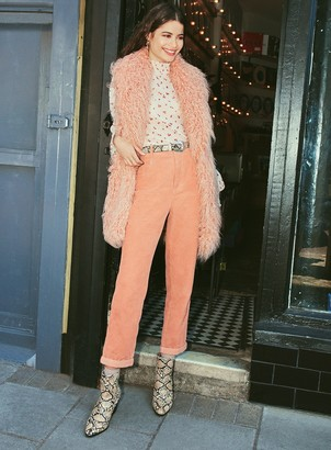 Miss Selfridge MOM High Waist Slim Fit Pink Corduroy Jeans