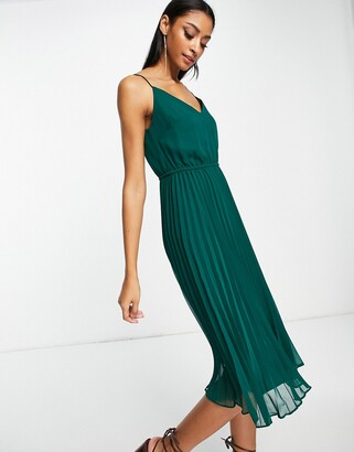 ASOS DESIGN pleated cami midi dress with drawstring waist in forest green