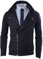 Tom's Ware Mens Premium Slim Fit Inner Faux Leather Zip-up Jacket TWKWJ317-XXXL (US XXL)