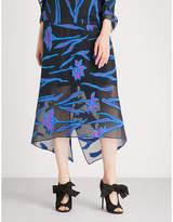 Roland Mouret Hilston floral fil-coupé midi skirt