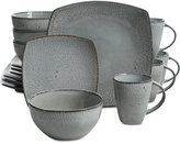 Gibson Reactive Fleck Gray Soft Square 16-Piece Dinnerware Set