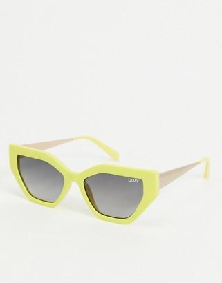 Quay Vinyl slim cat eye sunglasses in yellow