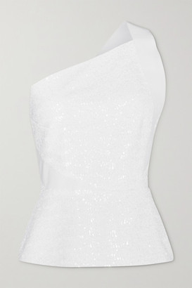 Roland Mouret Coreana One-shoulder Sequined Crepe Top - White