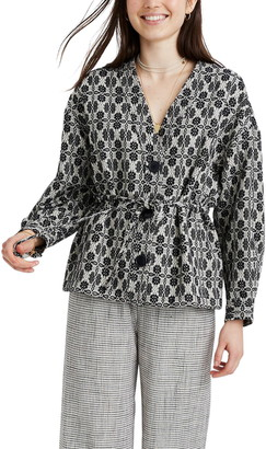 Madewell Geometric Jacquard Tie Waist Jacket