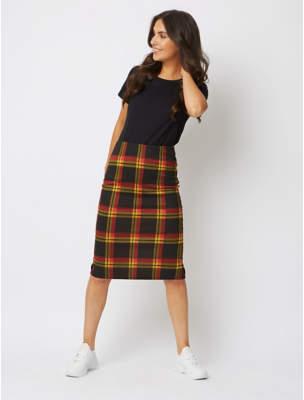 George Black and Yellow Check Pencil Midi Skirt