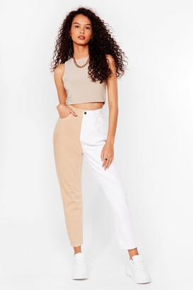 Nasty Gal Womens Two-Tone's the Charm High-Waisted Mom Jeans - Beige - 6