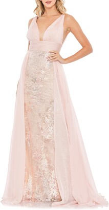 Mac Duggal Chiffon & Lace A-Line Gown