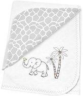 Just Born Animal Kingdom Comfort Blanket 100% Cotton Knit Giraffe Print, White/Grey by