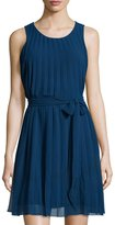 Max Studio Sleeveless Fit-and-Flare Pleated Dress, Navy