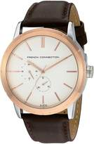 French Connection Men's 'Clarke' Quartz Stainless Steel and Leather Automatic Watch, Color: Brown (Model: FC1261TRGA)