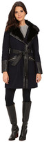 Via Spiga Asymmetrical Faux Fur Belted Coat w/ PU Detail