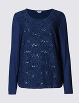 Marks and Spencer Sequin Long Sleeve Jersey Top