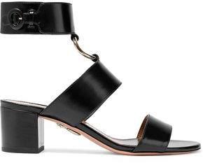 Aquazzura Safari Ring-Embellished Leather Sandals