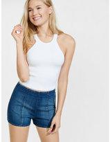 Express high rise stretch denim pin-up shorts
