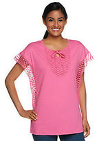 As Is Denim & Co. Butterfly Sleeve Knit Top with Crochet Detail