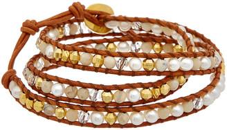 Chan Luu 18K Over Silver Brioche Agate & 4Mm Pearl Wrap Bracelet