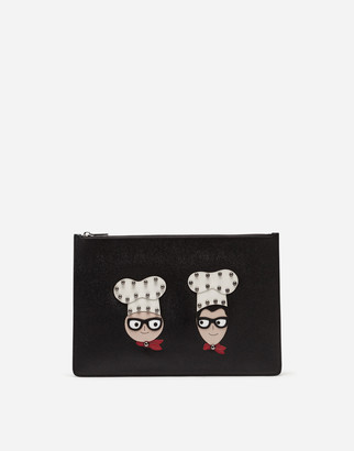 Dolce & Gabbana Document Holder In Dauphine Calfskin With Designers Patches
