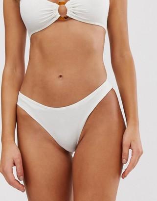 Monki bubble rib buckle detail bikini bottoms in off white