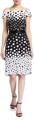 Tadashi Shoji Ombre Dot Off-the-Shoulder Sheath Dress