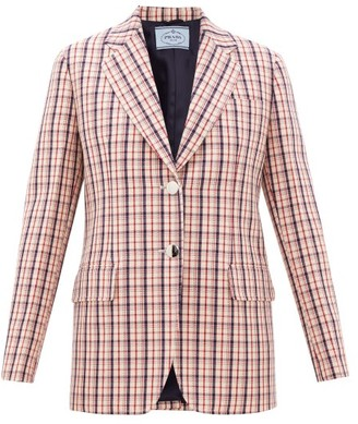 Prada Single-breasted Checked Wool-twill Jacket - Red White