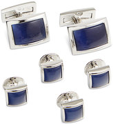 Ryan Seacrest Distinction Men's Rhodium Royal Blue Cufflinks & Inserts Set, Only at Macy's