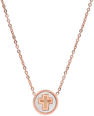Steel by Design Mother-of-Pearl Round Cross Pendant Necklace