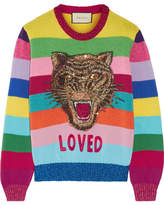 Gucci Appliquéd Sequined Striped Wool Sweater - Blue