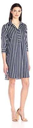 Foxcroft Women's 3/4 Sleeve Nikki Club Stripe Non Iron Dress 14