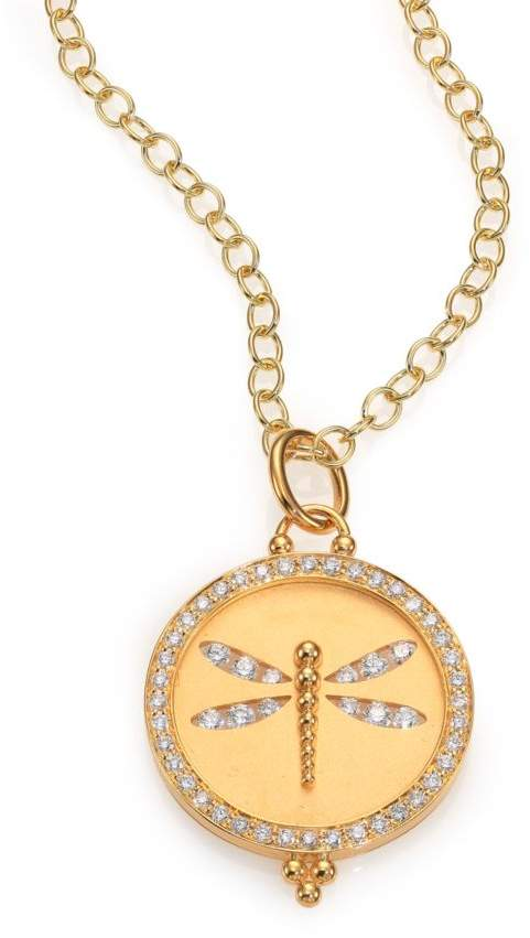 Temple St. Clair Tree Of Life Diamond & 18K Yellow Gold Dragonfly Cutout Disc Pendant