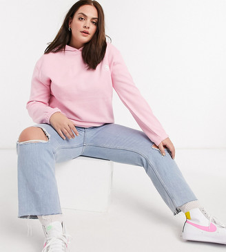 Daisy Street Plus oversized hoodie with yin yang embroidery in pastel co-ord
