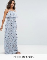 Yumi Petite Frill Top Maxi Dress In Blossom Print