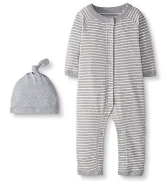 Hanna Andersson Moon and Back by Baby Snap Front One-Piece Organic Cotton Long Sleeve Romper with Cap Set