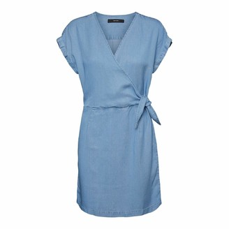 Vero Moda Women's VMLISA SS Short WRAP Dress GA Casual