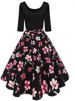 BIUBIU Women's 1950s Retro Dress Vintage Floral Fla A-line Midi Swing Dress XL
