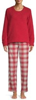 Hanes Women's 2-Piece Sherpa Top and Stretch Fleece Pants Sleep Set