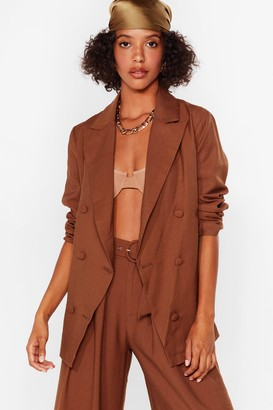 Nasty Gal Womens Business as Usual Double Breasted Blazer - Brown