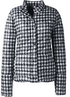Lands' End Women's Tall Lightweight Down Packable Jacket-Slate Frost Houndstooth