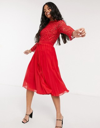 Chi Chi London lace sleeve midi dress in red