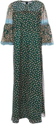 Anna Sui Printed Chiffon-paneled Silk-georgette Maxi Dress