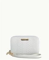 GiGi New York Wristlet Phone Wallet White Embossed Python