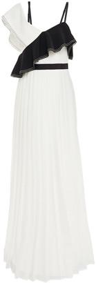 Self-Portrait Ruffled Two-tone Crepe Maxi Dress