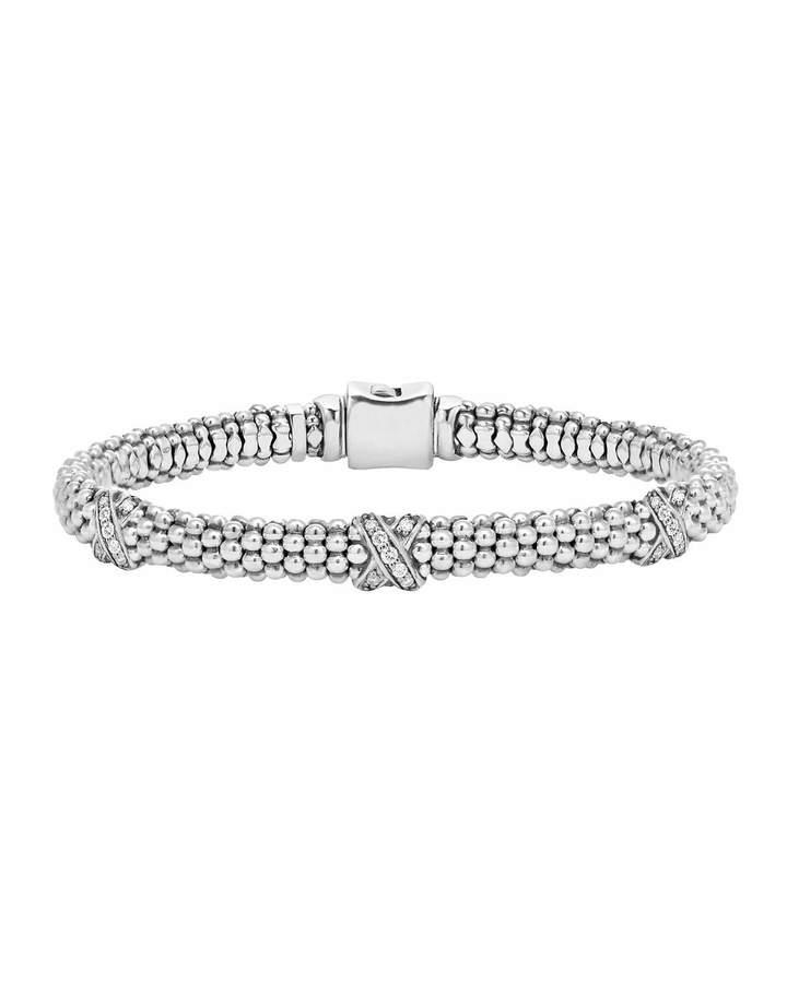 Lagos Silver Caviar Diamond X Bracelet, 6mm